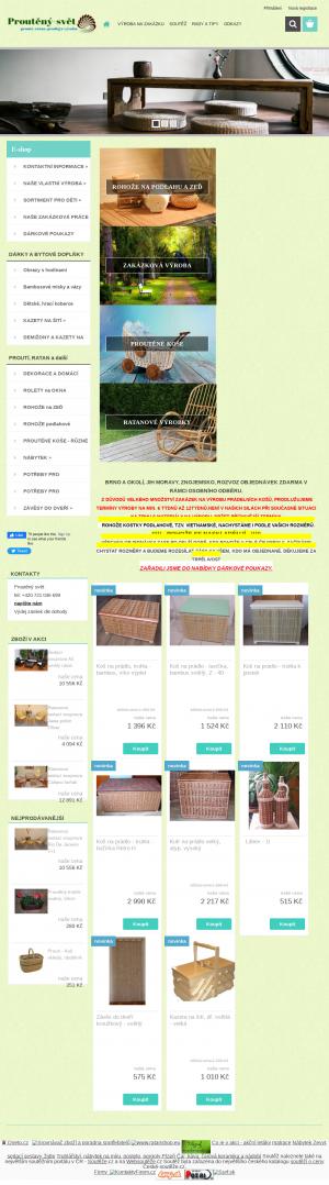 Vzled internetové stránky obchodu Proutěný - svět