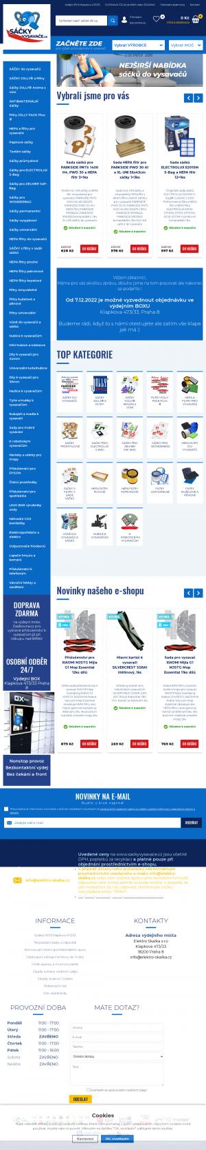 Vzled internetové stránky obchodu SackyVysavace.cz - Sáčky do vysavačů
