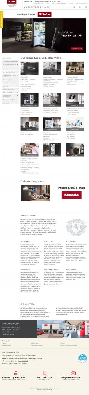 Vzled internetové stránky obchodu Miele Elektro Vlášek