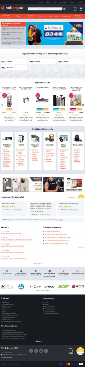 Vzled internetové stránky obchodu NEJCENY.cz