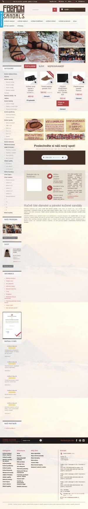 Vzled internetové stránky obchodu Faraon Sandals s.r.o.