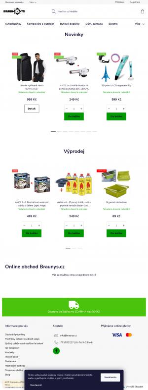 Vzled internetové stránky obchodu Braunys.cz
