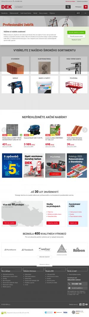 Vzled internetové stránky obchodu Dek.cz