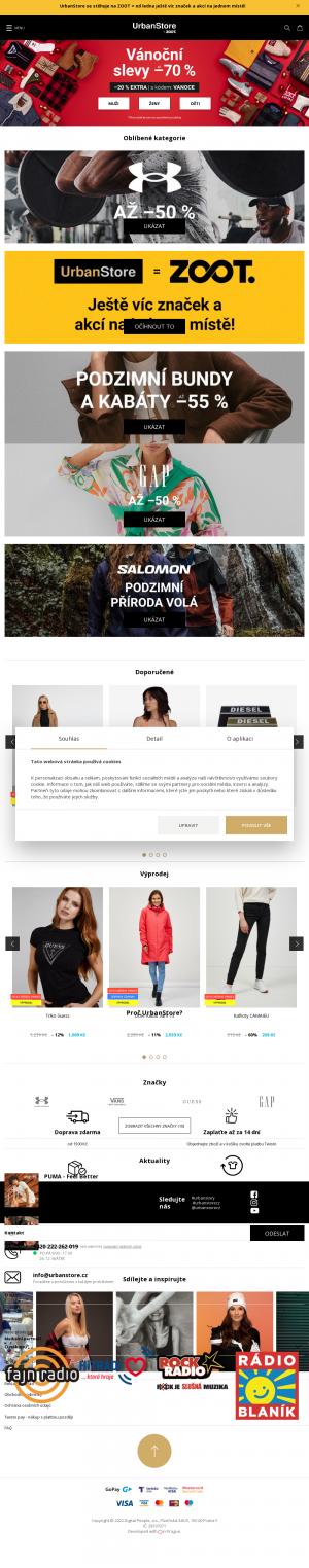 Vzled internetové stránky obchodu UrbanStore.cz