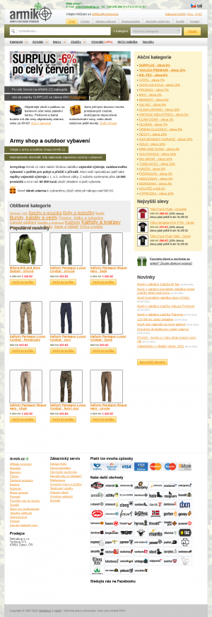 Vzled internetové stránky obchodu Armik.cz army shop