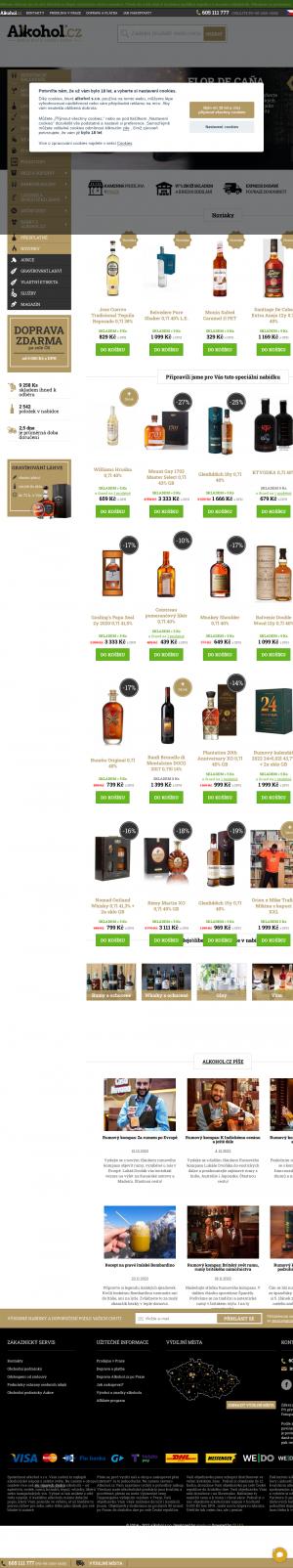 Vzled internetové stránky obchodu Alkohol.cz