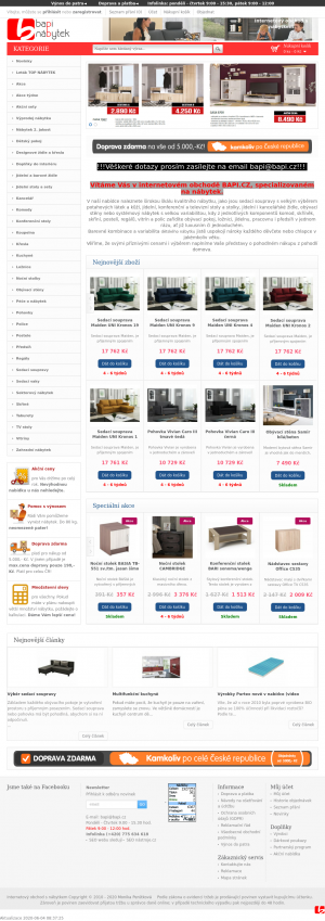 Vzled internetové stránky obchodu Nábytek BAPI
