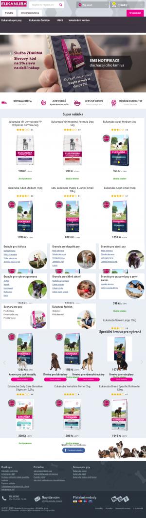 Vzled internetové stránky obchodu Eukanuba-shop.cz