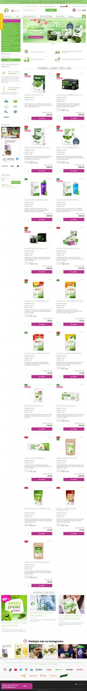 Vzled internetové stránky obchodu MatchaTea.bio