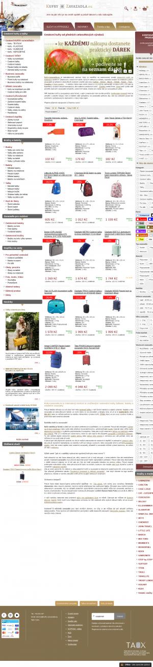 Vzled internetové stránky obchodu Kufry-zavazadla.eu