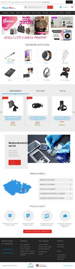 Vzled internetové stránky obchodu MobilMax.cz