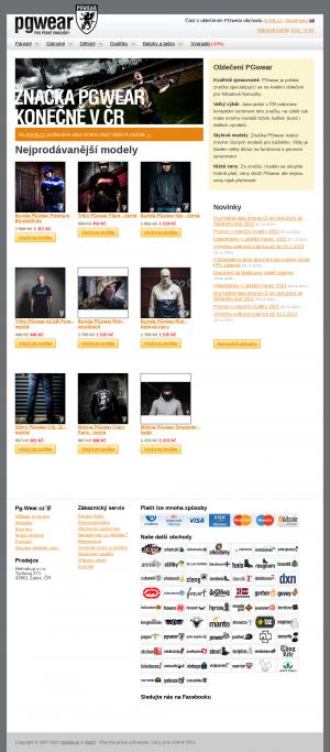 Vzled internetové stránky obchodu Pg-Wear.cz
